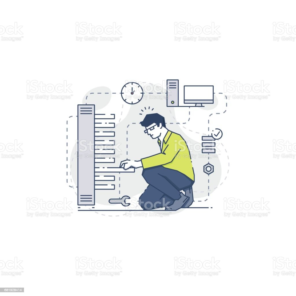 Young system administrator fixing server problem vector art illustration