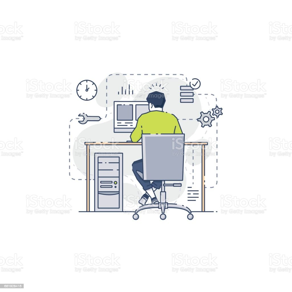 Young system administrator working on data vector art illustration