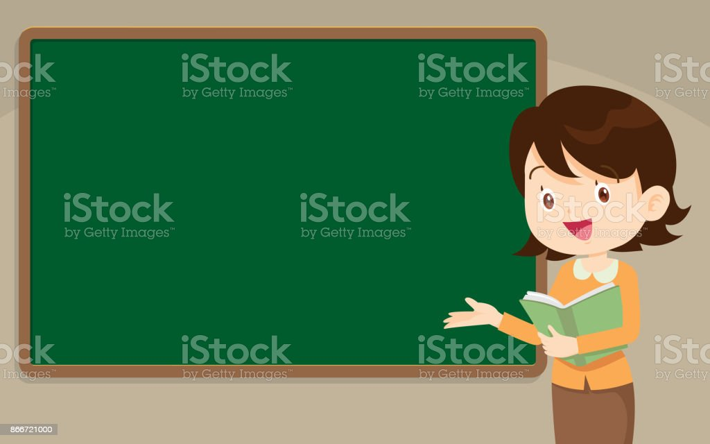 Young Teacher standing in front of chalkboard vector art illustration
