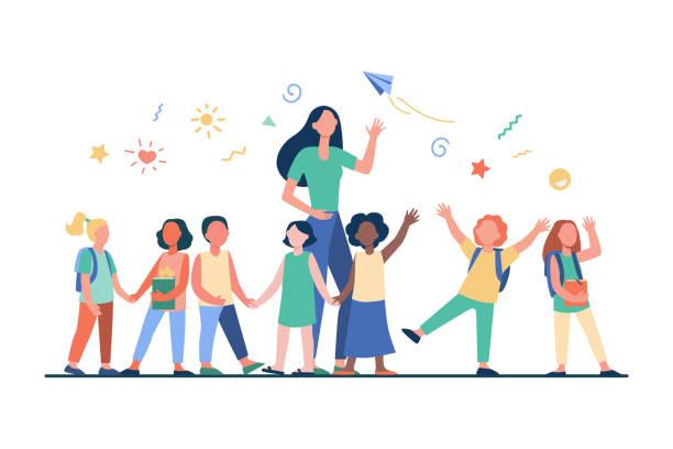 ilustrações, clipart, desenhos animados e ícones de jovem professor com crianças alegres - professor