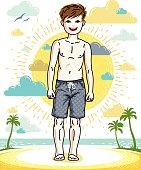 Young teen boy cute children standing wearing fashionable beach shorts. Vector character. Fashion theme clipart.
