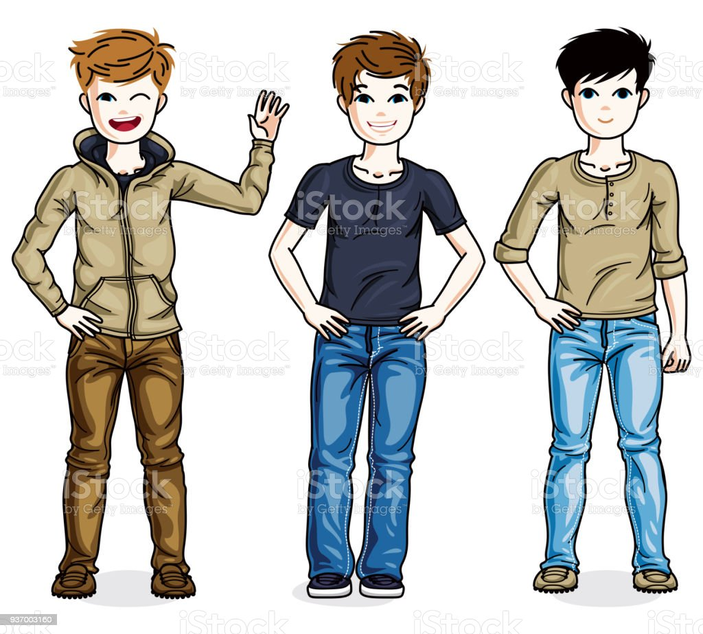 Young Teen Boys Cute Children Group Standing In Stylish ...