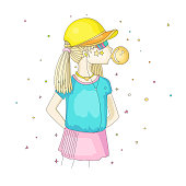 Young teen girl in a baseball cap with headphones blowing bubblegum. Little girl vector cartoon hand draw illustration. Teenage girl in bright colors, rebel girl illustration. Pre teen rebel grl isolated on white