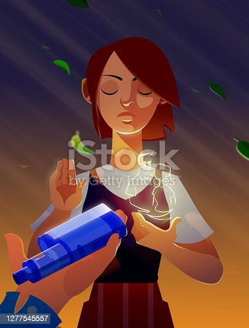 Young Teen Girl Rejecting Vape or Electronic Cigarette Thinking About Her Parents.