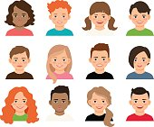 Vector teenagers or pupil kids faces. Young teenage girls and boys avatars isolated on white background
