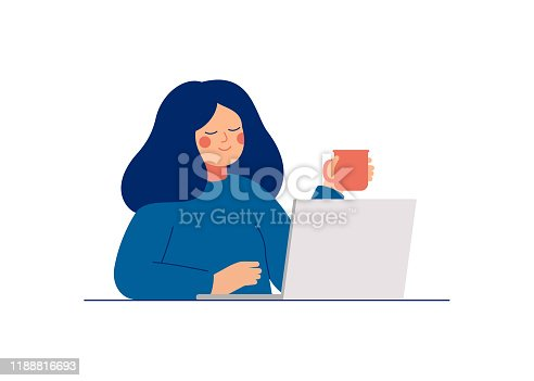 istock Young teenage woman uses laptop for work or chatting with friends. 1188816693
