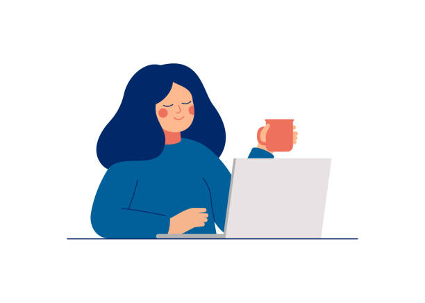 Young teenage woman uses laptop for work or chatting with friends. Young teenage woman uses laptop for work or chatting with friends. Daily life of office employee, creative freelance worker or writer. Flat cartoon vector illustration. happiness stock illustrations