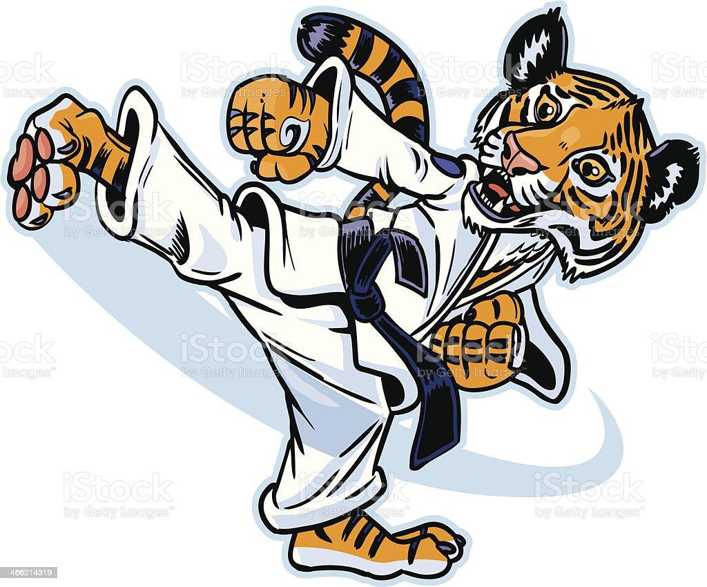 Jovem Cria de tigre Martial Artist execução de chute - ilustração de arte em vetor