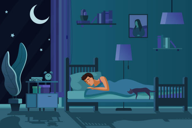 Young tired man sleeping in bed covered with quilt. Student male sleep at night in dark bedroom interior cartoon flat vector illustration. vector art illustration