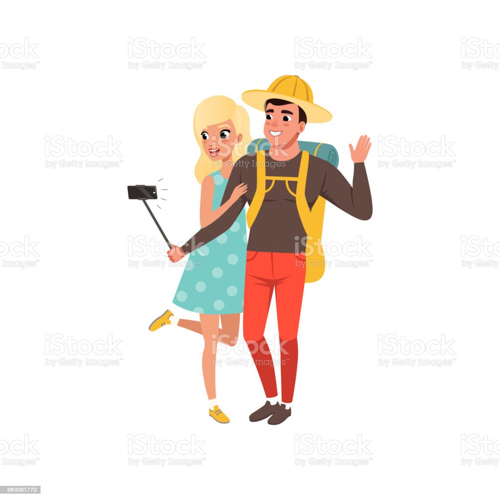 Young tourist couple taking selfie using selfie stick, man and woman traveling together during summer vacation vector Illustration on a white background - Royalty-free Adult stock vector