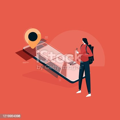 young tourist lady using Smartphone with Navigation app for destination, isometric Map and pointer on mobile vector illustration, Female tourist with backpack using navigation application on modern smartphone to plan route to destination point while standing on city street.