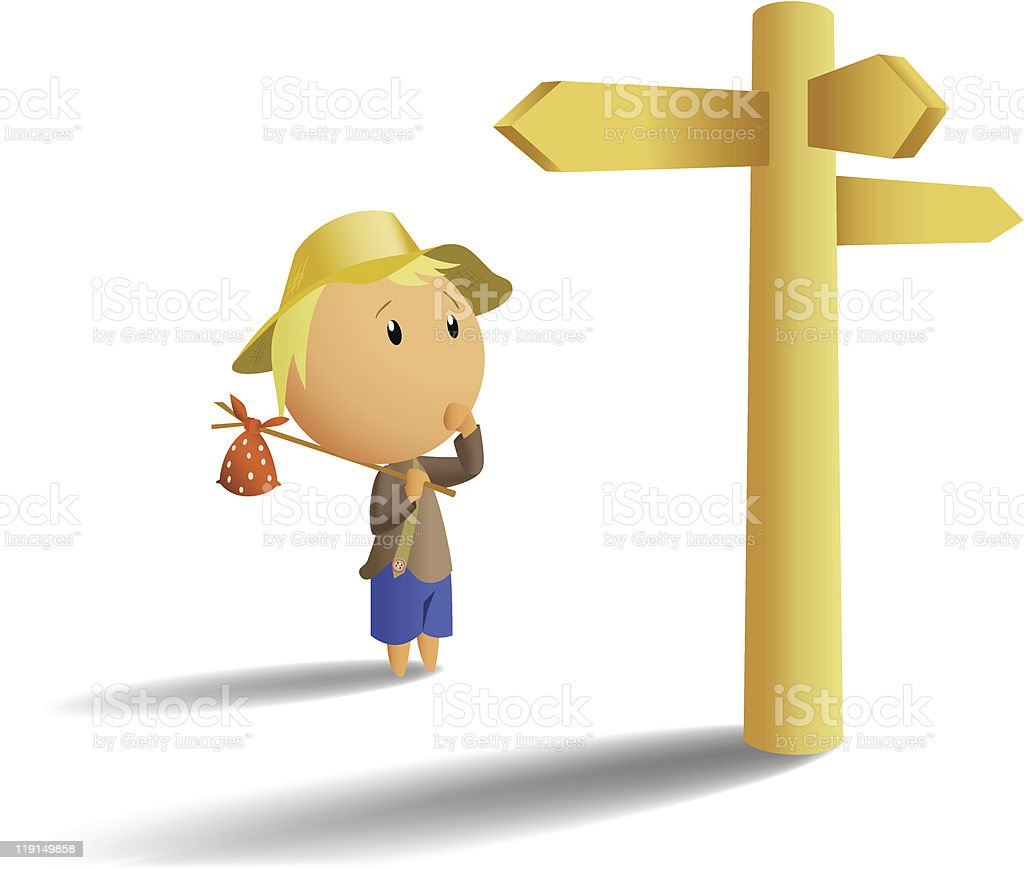 Young tramp make choice on crossroad vector art illustration