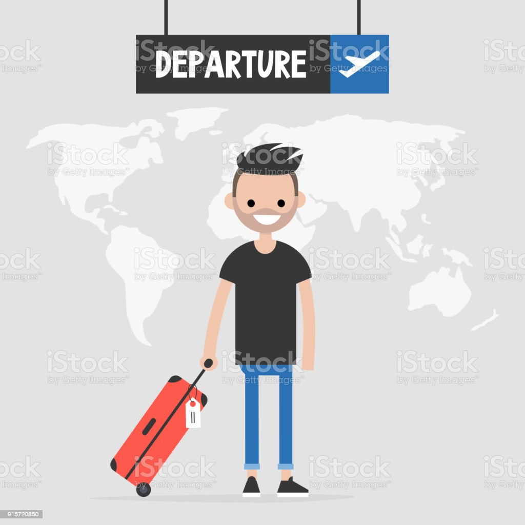 young traveler holding a cabin luggage flight departure sign tourism