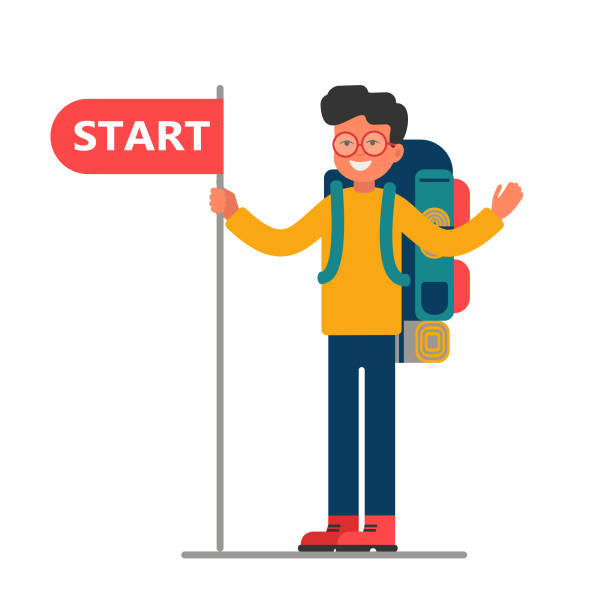 young traveler with a large backpack holding a blank with start. - start stock illustrations