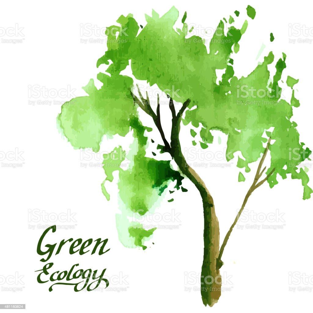 Junge Baum Gemalt In Aquarelloptik Stock Vektor Art Und Mehr
