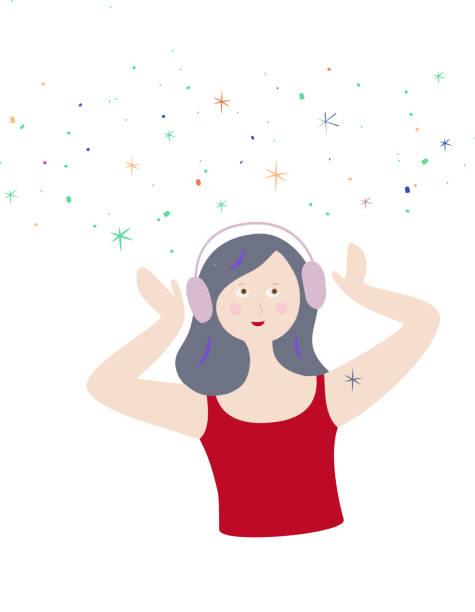 junge trendige asmr oder musikliebhaber. fröhliches mädchen mit kopfhörern auf, tragen ein headset, hören musik oder genießen autonome sensorische meridian-antwort. mit indigo-haar und galaxie von schierem kribbeln glück, kribbeln in hülle und füll - sensorischer impuls stock-grafiken, -clipart, -cartoons und -symbole