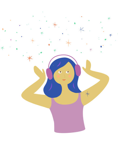 junge trendige asmr oder musikliebhaber. fröhliches mädchen mit kopfhörern auf, tragen ein headset, hören musik oder genießen autonome sensorische meridian-antwort. mit blauen haaren und galaxie von schierem kribbeln glück, kribbeln in hülle und fü - sensorischer impuls stock-grafiken, -clipart, -cartoons und -symbole