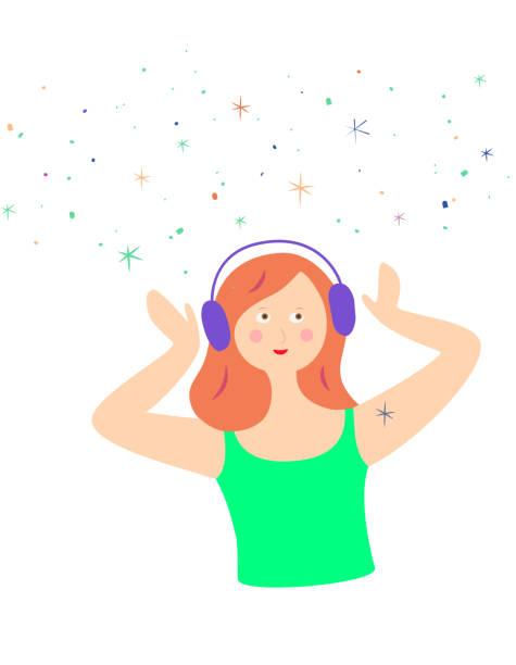 junge trendige asmr oder musikliebhaber. fröhliches mädchen mit kopfhörern auf, tragen ein headset, hören musik oder genießen autonome sensorische meridian-antwort. mit ingwerhaaren und galaxie des kribbelnden glücks kribbelt es in hülle und fülle. - sensorischer impuls stock-grafiken, -clipart, -cartoons und -symbole