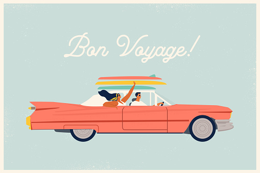 Young trendy happy hipster couple in love having trip road by red cabriolet. Laughing stylish girl and driving boy at summertime vacation in flat vector cartoon illustration.