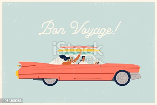 Young trendy happy hipster couple in love having trip road by red cabriolet. Laughing stylish girl and driving boy at summertime vacation in flat vector cartoon illustration