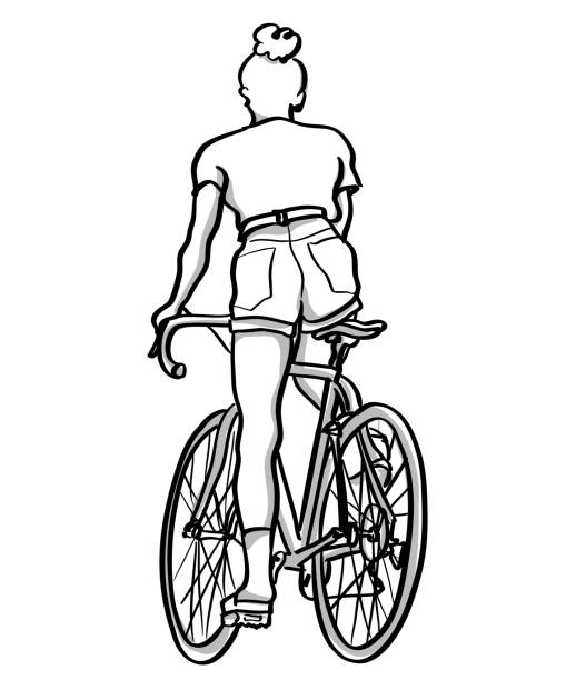 Young Trendy Woman Cyclist vector art illustration