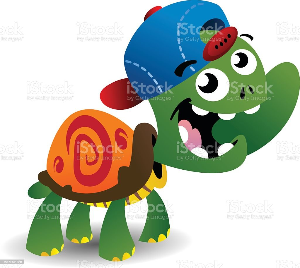 Young Turtle vector art illustration