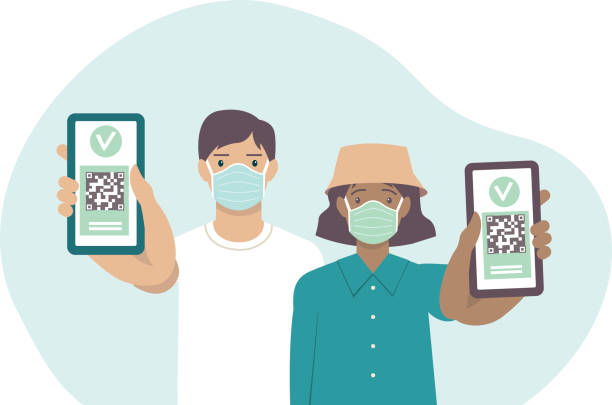 Young vaccinated people using digital health passports. Adult man and woman showing an app in mobile phone. Immunization certificate with qr code on device screen. Green immunity pass. vector art illustration