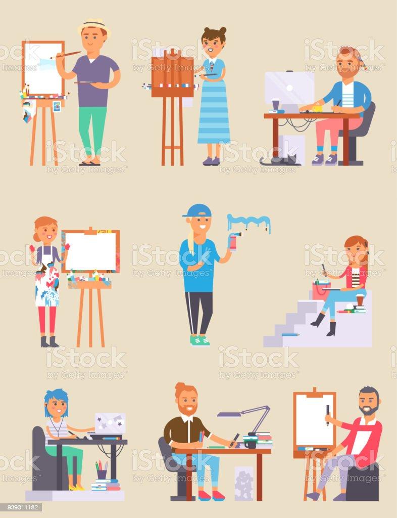 Young vector artist designer creative people in studio during pain work. Portrait drawing female artist creative people vector. Colorful adult painter artist creative people girl with paintbrush векторная иллюстрация