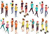 Young vector people with laptops and phones. Isolated isometric teenagers in casual clothes for computer technology concept