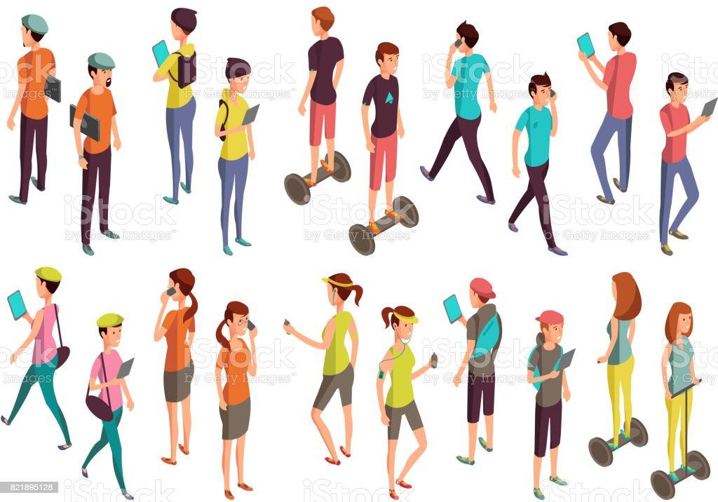 Genç insanlar dizüstü bilgisayarlar ve telefonlar ile vektör. Bilgisayar teknoloji kavramı için rahat kıyafetler içinde izole izometrik gençler vektör sanat illüstrasyonu