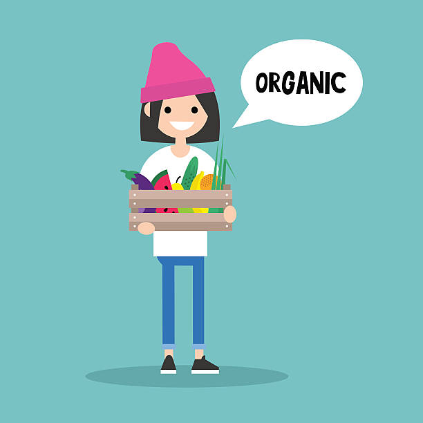 illustrazioni stock, clip art, cartoni animati e icone di tendenza di young vegetarian brunette girl holding a crate - mercato frutta donna