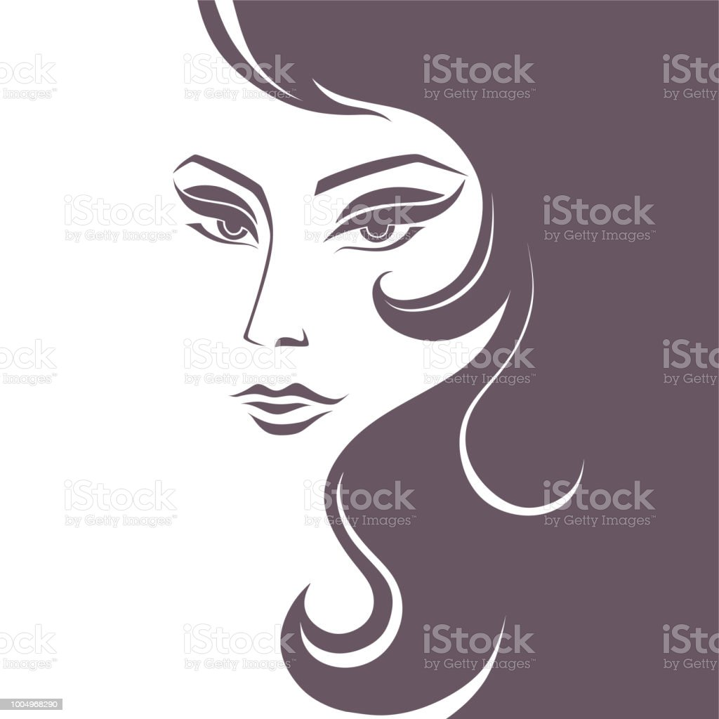 young very beautiful woman with long eyelashes vector art illustration