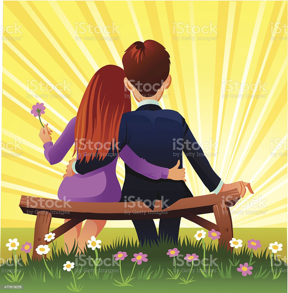 Young Vintage Couple in Love royalty-free stock vector art