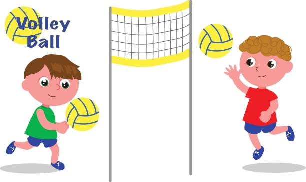 Young volley players vector vector art illustration