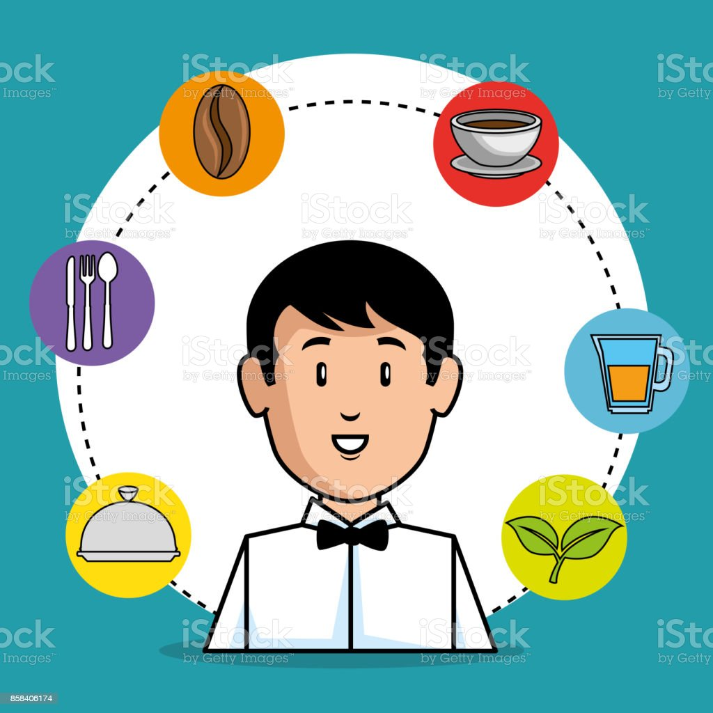 young waiter cartoon - arte vettoriale royalty-free di Adulto
