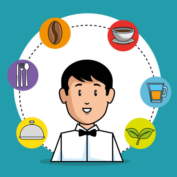 illustrazioni stock, clip art, cartoni animati e icone di tendenza di young waiter cartoon - portrait of waiter and waitress holding a serving