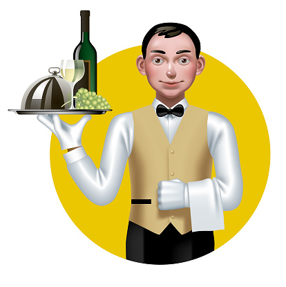 Young waiter with a tray in a yellow circle