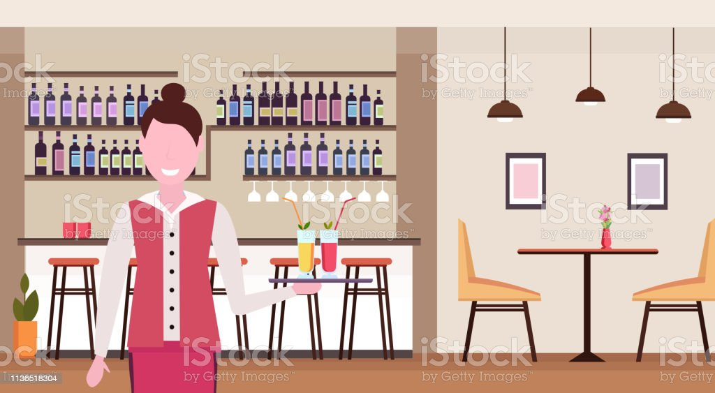 young waitress holding tray with cocktails professional worker in cafe serving drinks for clients woman in uniform standing in modern restaurant interior portrait horizontal vector illustration - arte vettoriale royalty-free di Adulto