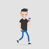 Young walking character using phone. Millennial generation. Technology. Flat editable vector illustration, clip art