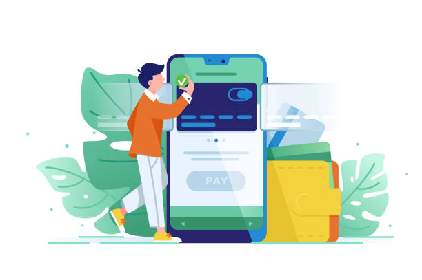 young wealthy man pays card using mobile payment. - отвести взгляд stock illustrations