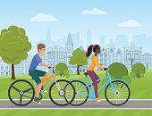 Young white man and african woman couple riding a sport bike on a park road on the old city background. People bicycle Vector illustration.