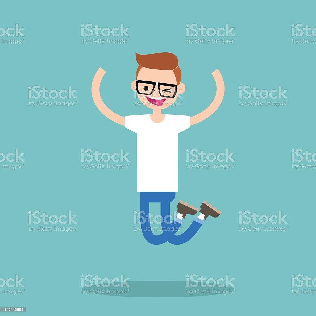Young winking jumping nerd boy vector art illustration