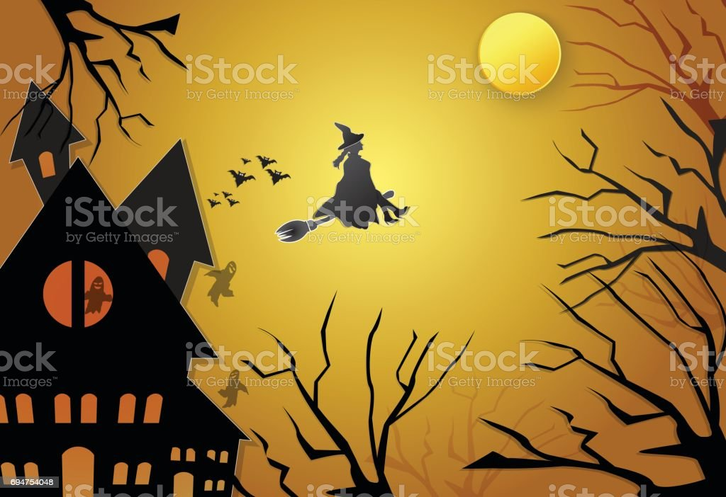 young witch flying on broom with spooky silhouette halloween