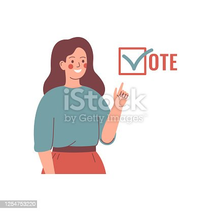 1001754954 istock photo Young Woman activist is calling for votes. 1254753220