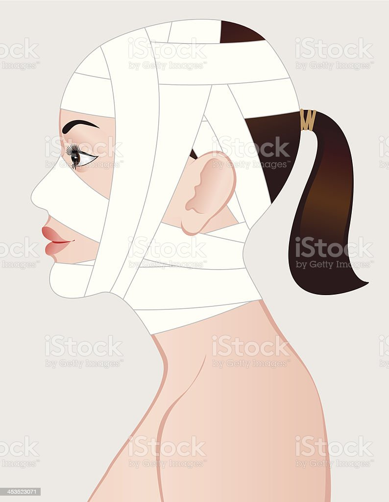 Young woman after cosmetic surgery. royalty-free young woman after cosmetic surgery stock vector art & more images of adult