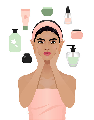 Young woman and beauty products