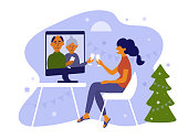 Young woman and her parents celebrate Christmas or New year use computer. Seniors and daughter make online video call on holidays. Virtual talk of elderly people and girl. Family vector illustration