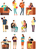 Young woman and man, college students reading book. People readers studying with books and magazines. Cartoon characters collection. Education woman and man study . Vector illustration