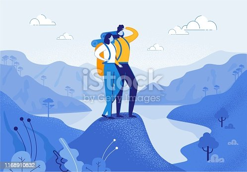 Young Woman and Man Couple Hiking in Mountains Flat Cartoon Vector Illustration. Friend Characters with Racksack in Journey with River or Lake on Background. Boy Looking ahead. Trip or Adventure.