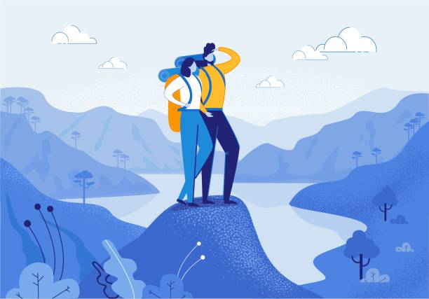 Young Woman and Man Couple Hiking in Mountains. Young Woman and Man Couple Hiking in Mountains Flat Cartoon Vector Illustration. Friend Characters with Racksack in Journey with River or Lake on Background. Boy Looking ahead. Trip or Adventure. hiking stock illustrations